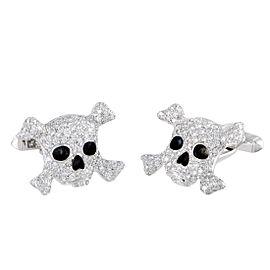 De Grisogono 18K White Gold Enamel Diamond Cufflinks