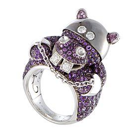 De Grisogono 18K White Gold Diamond, Sapphire, Amethyst Ring