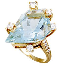 Chaumet 18K Yellow Gold Diamond, Aquamarine, Tourmaline Ring