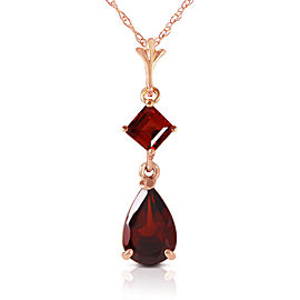 2 CTW 14K Solid Rose Gold Laughter Garnet Necklace