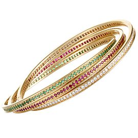 Cartier Trinity Bracelet 18k Yellow Gold Diamond Ruby and Emerald