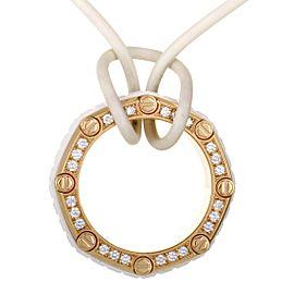 Audemars Piguet Royal Oak Offshore 18K Rose Gold Diamond and White Rubber Octagon Pendant White Cord Necklace