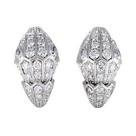 Bulgari Serpenti 18K White Gold Pave Diamond Earrings