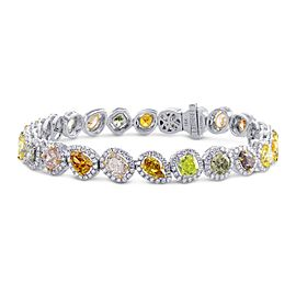 Leibish 18K White Gold Multicolor Diamond Bracelet