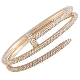 Cartier Estate Juste un Clou 18K Rose Gold Full Diamond Pave 2-Coil Bangle Bracelet N6708617-17