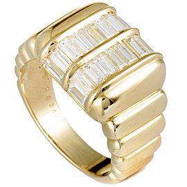 Piaget 18K Yellow Gold Baguette Diamond Square Band Ring
