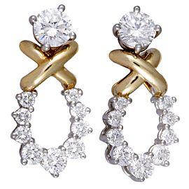 Tiffany & Co. Platinum and 18K Yellow Diamond Loop Push Back Earrings