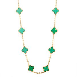 Van Cleef & Arpels Vintage Alhambra 18K Yellow Gold 20 Motif Chrysoprase Long Necklace
