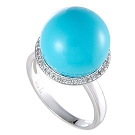 Platinum Diamond and Turquoise Ball Ring
