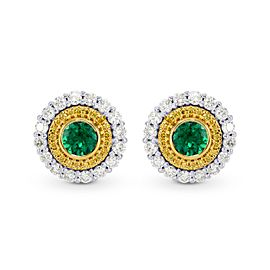 Leibish 18K white and Yellow Gold with 1.21ctw Green Emerald and Diamond Earrings