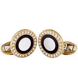 Piaget 18K Yellow Gold Diamond Onyx and Mother of Pearl Round Cufflinks