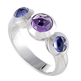 Tiffany & Co.18K White Gold Iolite and Amethyst Three Stone Ring