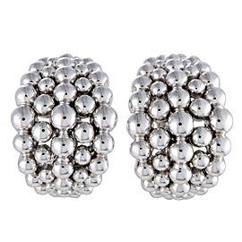 Boucheron Grains de Raisin 18K White Gold Wide Huggie Omega/Clip-on Earrings