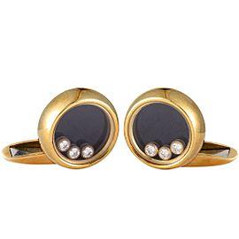 Chopard Happy Diamonds 18K Yellow Gold Diamond and Onyx Round Cufflinks