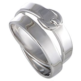 Hermes 18K White Gold Double Belt and Buckle Band Ring