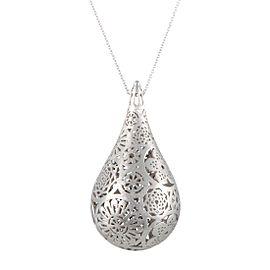 Bucherer 18K White Gold Floral Pendant Necklace