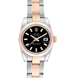 Rolex Datejust 26 Steel EveRose Gold Black Dial Ladies Watch 179161