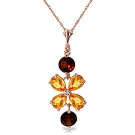 3.15 CTW 14K Solid Rose Gold Necklace Citrine Garneters