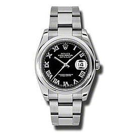 Rolex Datejust Steel Black Roman Dial 31mm Watch
