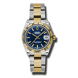 Rolex Datejust Steel and Yellow Gold Blue Stick Dial 31mm Watch