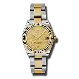 Rolex Datejust Steel and Yellow Gold Champagne Floral Motif Diamond Dial 31mm Watch