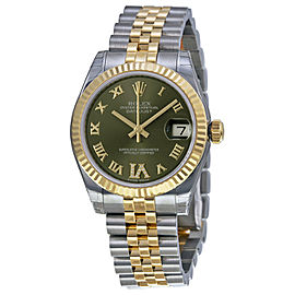 Rolex Datejust Steel and Yellow Gold Green Roman Diamond Dial 31mm Watch
