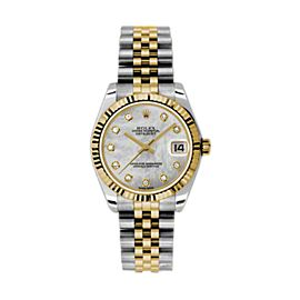 Rolex Datejust Steel and Yellow Gold Mother of Pearl Diamond Dial 31mm Watch