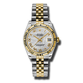 Rolex Datejust Steel and 18K Yellow Gold Mother of Pearl Roman Dial 31mm Watch