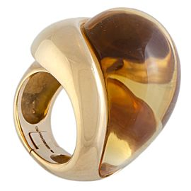 de Grisogono 18K Rose Gold Citrine Cabochon Large Overlapping Ring