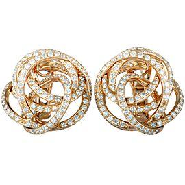 de Grisogono 18K Rose Gold Diamond Tangled Swirl Omega Earrings