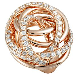 de Grisogono 18K Rose Gold Diamond Tangled Swirl Ring