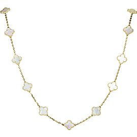 Van Cleef & Arpels Vintage Alhambra 18K Yellow Gold Mother of Pearl 20 Motif Necklace