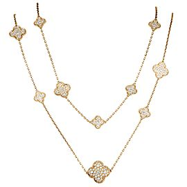 Van Cleef & Arpels Magic Alhambra 18K Rose Gold Diamond Pave 16 Motif Long Necklace