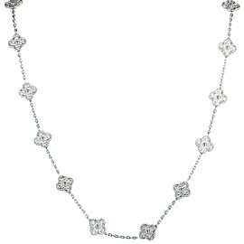 Van Cleef & Arpels Vintage Alhambra 18K White Gold Diamond Pave 20 Motif Long Necklace