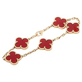 Van Cleef & Arpels Vintage Alhambra 18K Yellow Gold Carnelian 5 Motif Bracelet