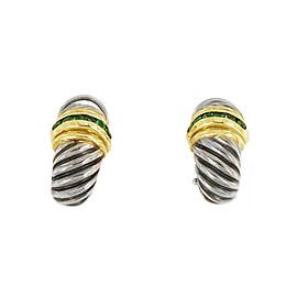 David Yurman Silver & 14k Gold .40ct Emerald Shrimp Earrings