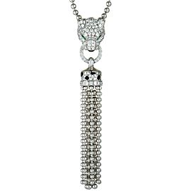 Cartier Panthere 18K White Gold Full Diamond Pave, Emeralds, Onyx and Black Enamel Tassel Pendant Necklace