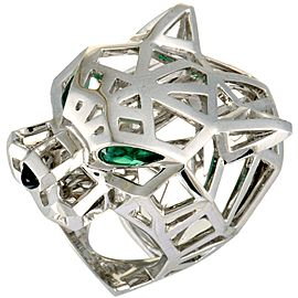 Cartier Panthere 18K White Gold Onyx and 2 Tsavorite Openwork Panther Head Ring