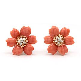 Van Cleef & Arpels Rose De Noël Earrings 18k Yellow Gold Coral Diamond