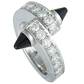 Cartier Menotte 18K White Gold Diamond Pave and Onyx Ring