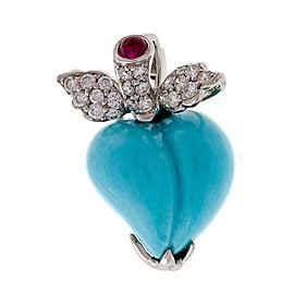 18k White Gold Turquoise Diamond Ruby Heart Pendant/Pin