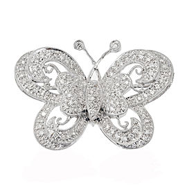 18k White Gold Pave Set Diamond Butterfly Pin