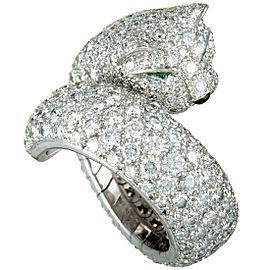 Cartier Panthere 18K White Gold Diamond Pave Onyx & Emerald Bypass Ring
