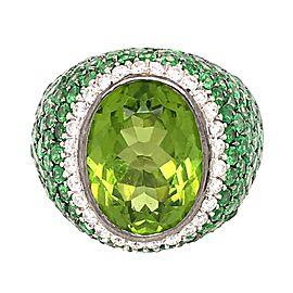 Estate 18k White Gold Peridot, Tsavorite, and Diamond Ring