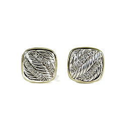 David Yurman Carved Cable Albion Earrings Sterling Silver 18K Yellow Gold 0.40tcw Pave Diamond