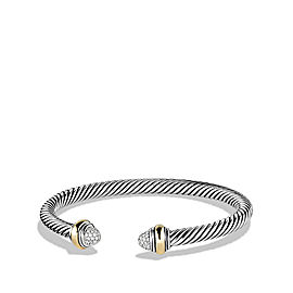 David Yurman Sterling Silver & 14K Yellow Gold With 0.16ct Diamonds Cable Bracelet