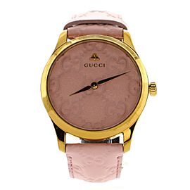 Gucci G-Timeless Quartz Watch Stainless Steel and Guccissima Leather 38