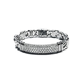 David Yurman Silver Paved Diamonds Madison Cable ID Bracelet
