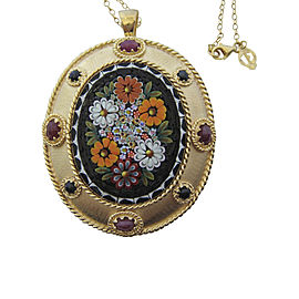 Tagliamonte Gold Plated Over Sterling Silver with Micro-Mosaic Sapphire and Ruby Pendant