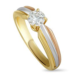 Cartier 18K Yellow White and Rose Gold Diamond Solitaire Engagement Ring